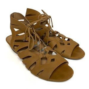 FRANCO SARTO Camel Brown Lace Up Cut Out Sandals